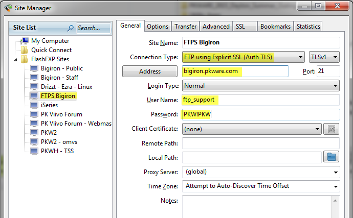 FTPS & SFTP options for sending data to us securely