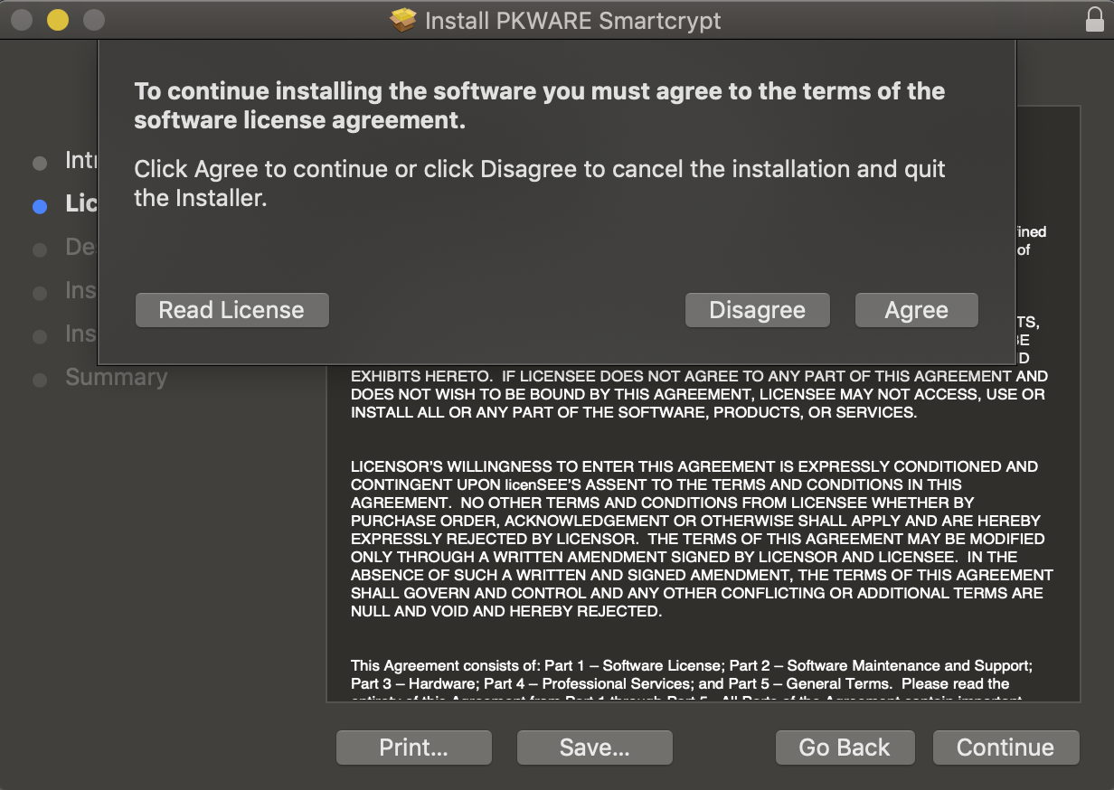 License Agreement is shown to the end user