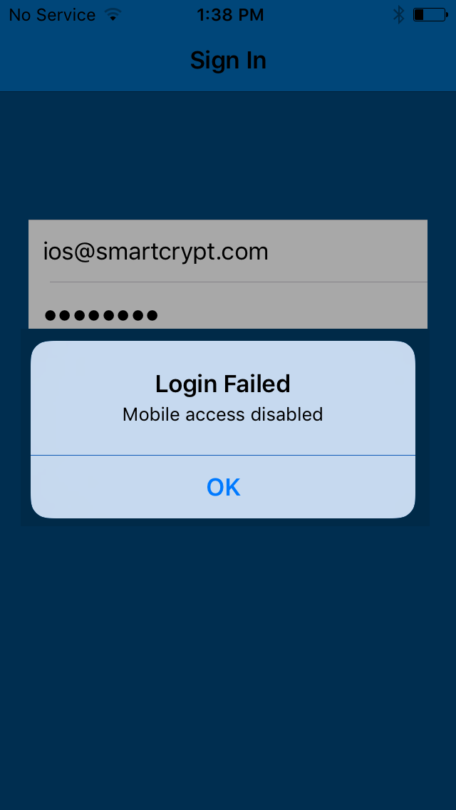 Login Failed user prompt is shown