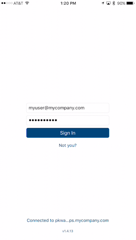 User enters account, password, and signs in