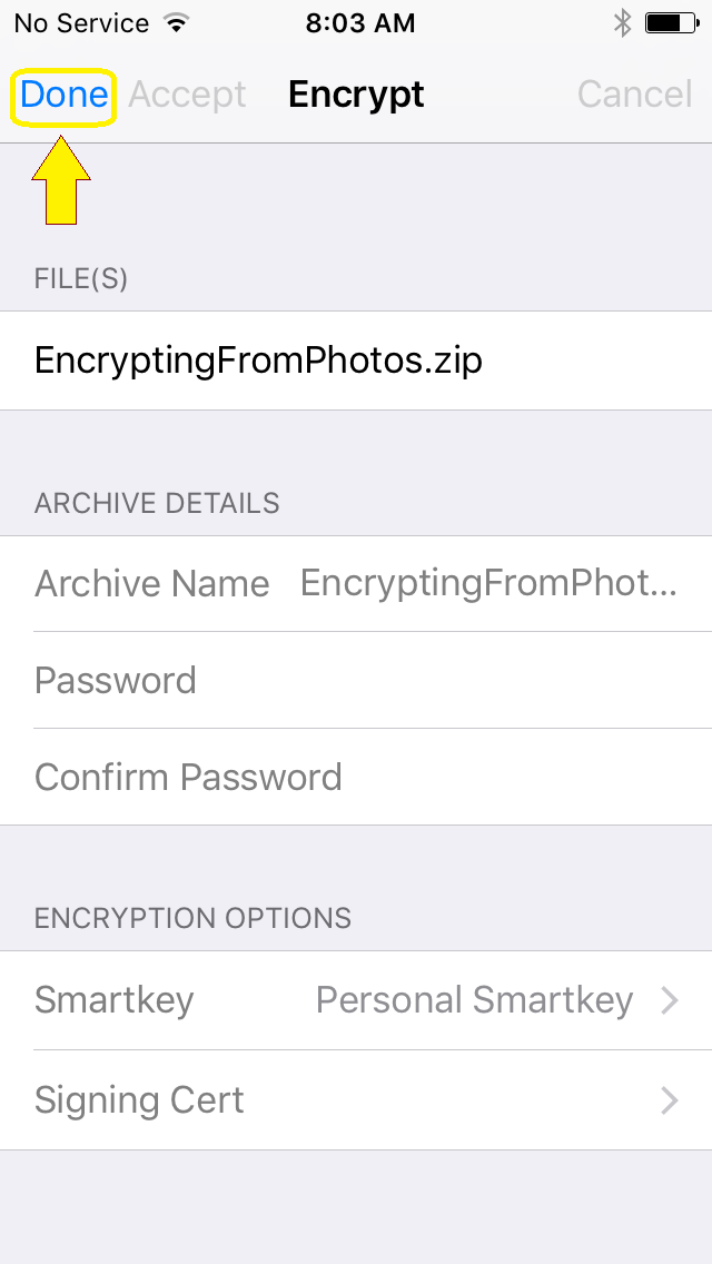 User is prompted with encryption options.