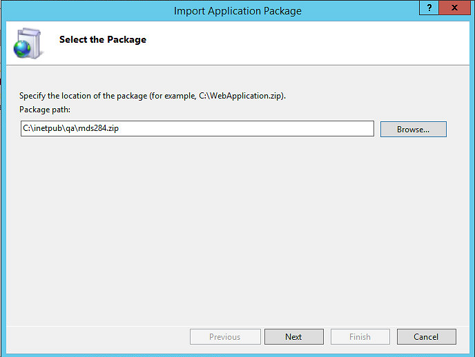 Navigate to web deploy package