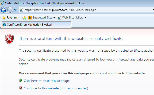 Web site with certificate warning
