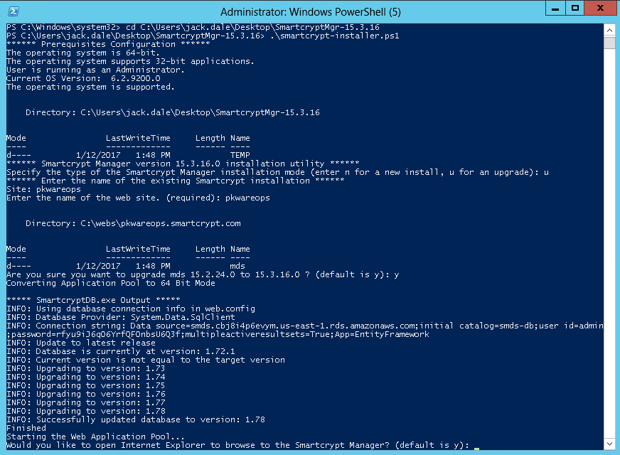 Finished update via powershell