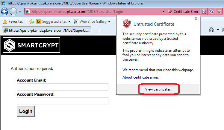 Viewing untrusted certificate in website