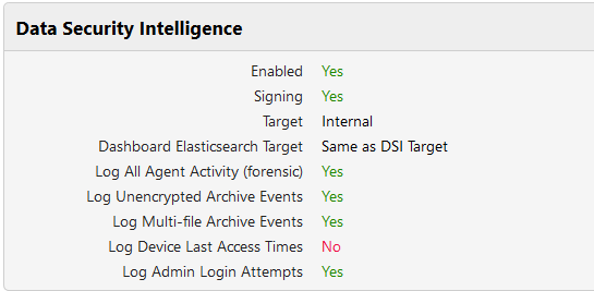 Data Security Intelligence (DSI) configuration and status