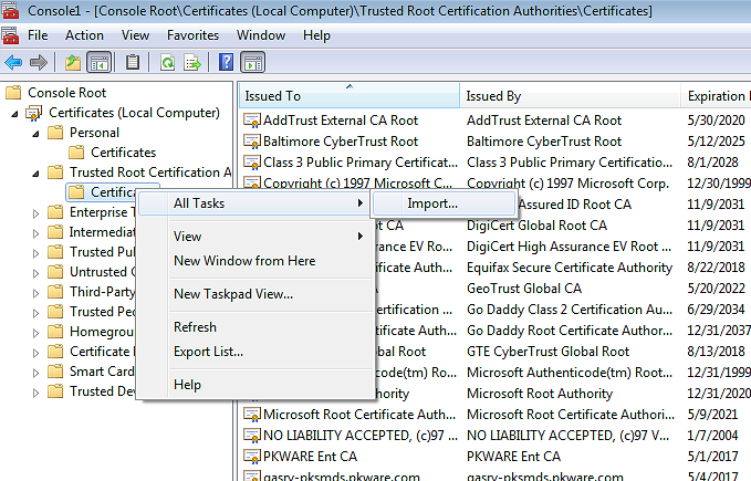 Trusted Root Certificate container in MMC