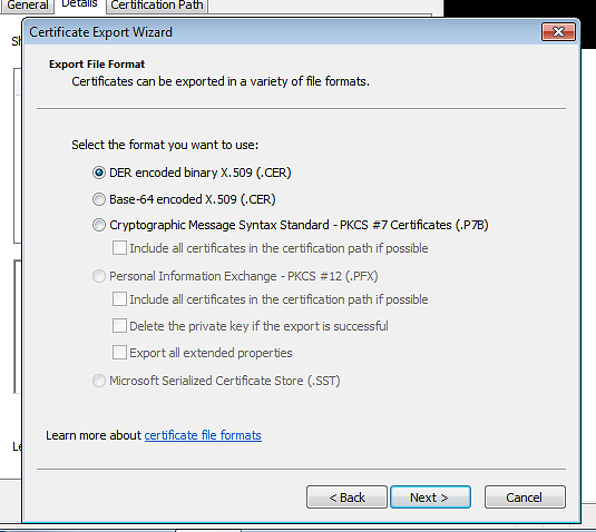 Exporting a certificate