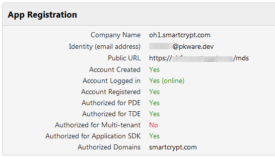 Application registration and authorization screen