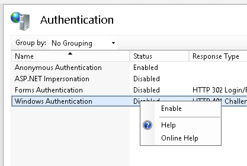 Windows Authentication - Enable