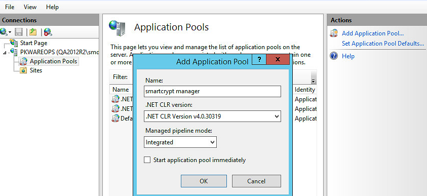 Application pool settings