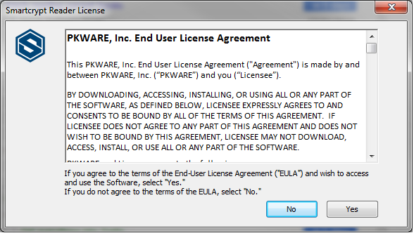 user prompt for user PKWARE Agreement