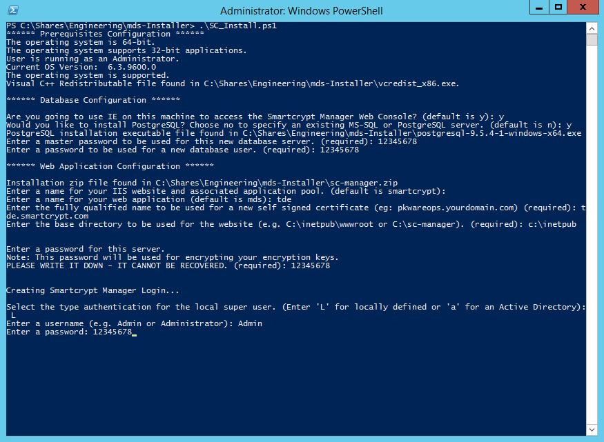Powershell script entries shown
