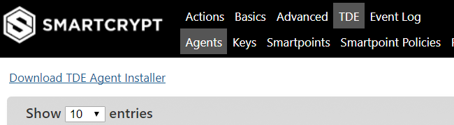 Down TDE Agent Option is shown to the end user