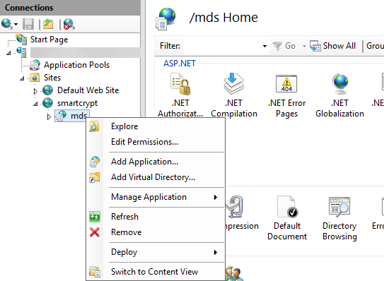 Right-Click on TDE App in IIS is shown to end user